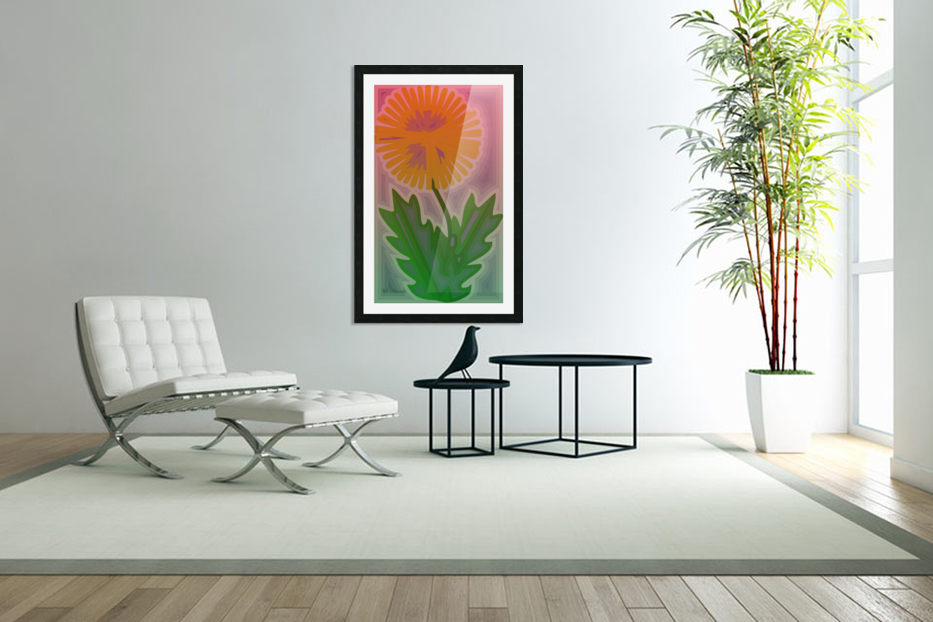 Abstract Dandelion in Custom Picture Frame