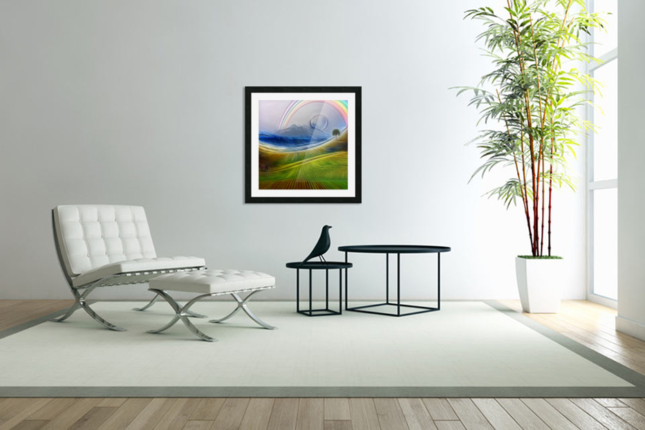 Painterly Peaceful Landscape in Custom Picture Frame