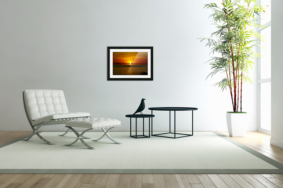 Sun rising on the Caribbean in Custom Picture Frame