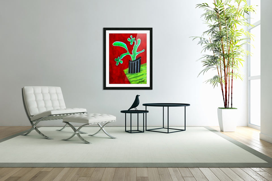 Cactus on Green Table in Custom Picture Frame