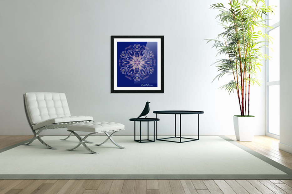 Limited Edition - Blue Graphic Art Healing Mandala 1005 in Custom Picture Frame