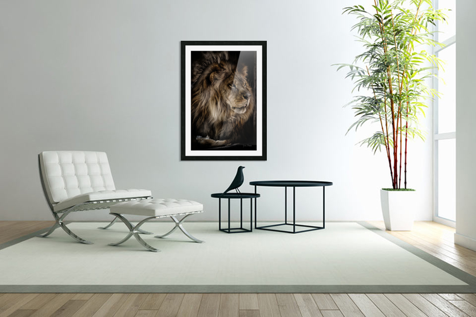 A Lions Profile in Custom Picture Frame