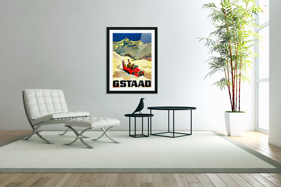 Vintage Travel - Gstaad in Custom Picture Frame