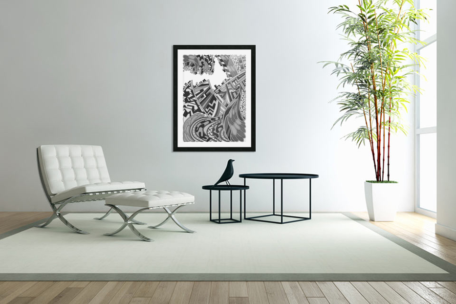 Wandering Abstract Line Art 01: Grayscale in Custom Picture Frame