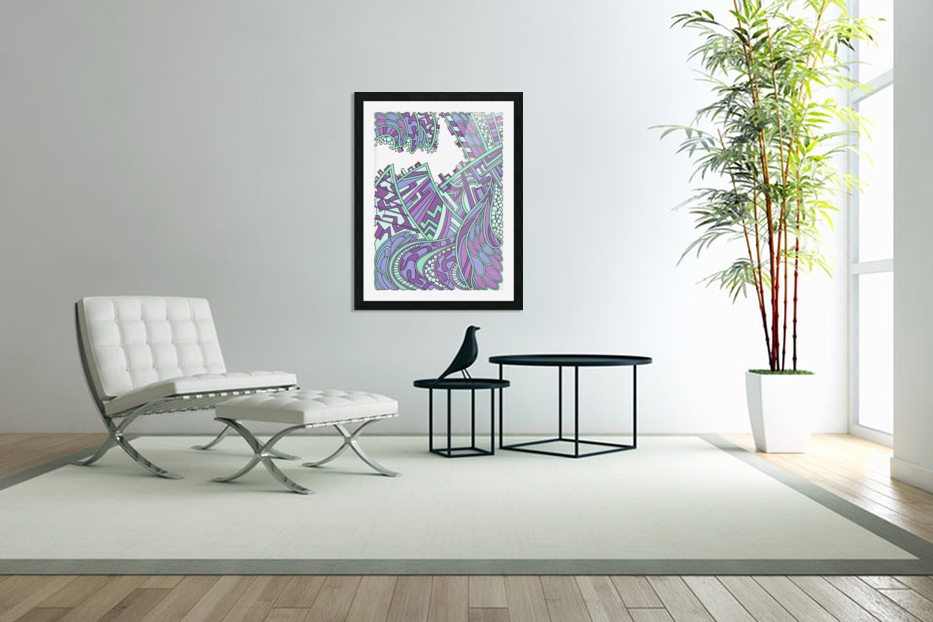 Wandering Abstract Line Art 01: Purple in Custom Picture Frame