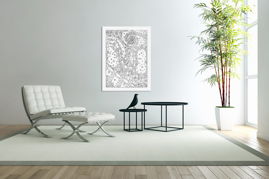 Wandering Abstract Line Art 02: Black & White in Custom Picture Frame
