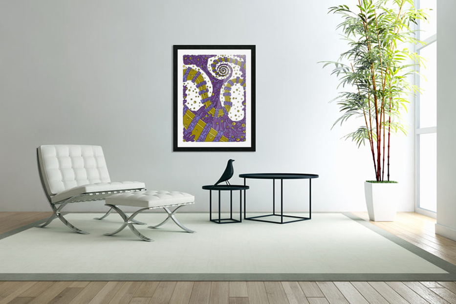 Wandering Abstract Line Art 02: Purple in Custom Picture Frame