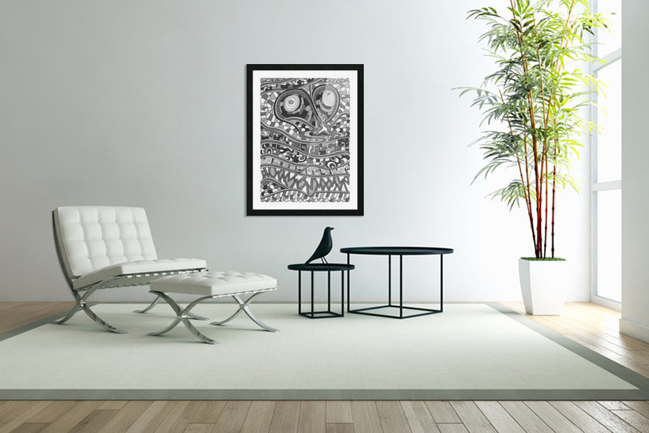 Wandering Abstract Line Art 03: Grayscale in Custom Picture Frame
