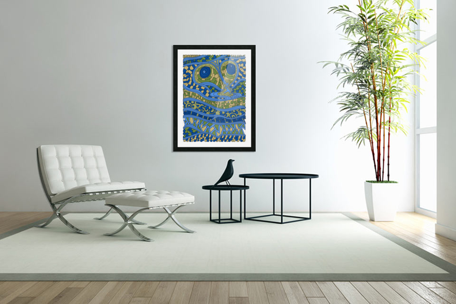 Wandering Abstract Line Art 03: Blue in Custom Picture Frame