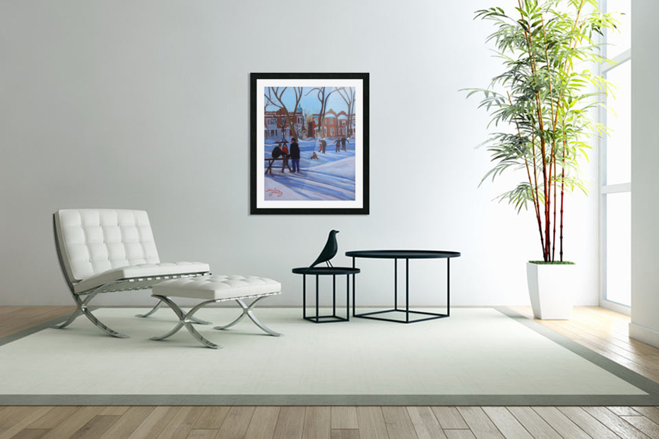 Learning to Skate at Outremont Park in Custom Picture Frame