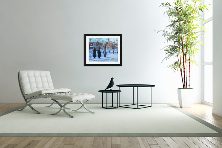 Outremont Park Skating Scene in Custom Picture Frame