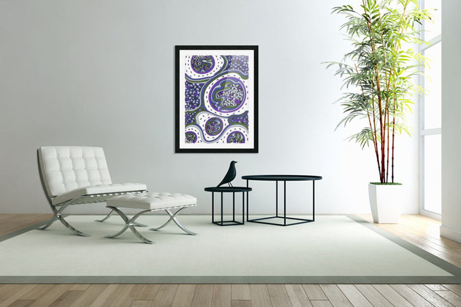 Wandering Abstract Line Art 06: Purple in Custom Picture Frame