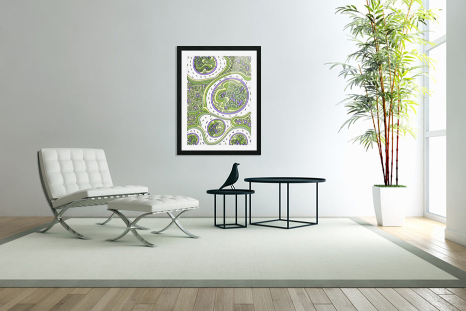 Wandering Abstract Line Art 06: Green in Custom Picture Frame