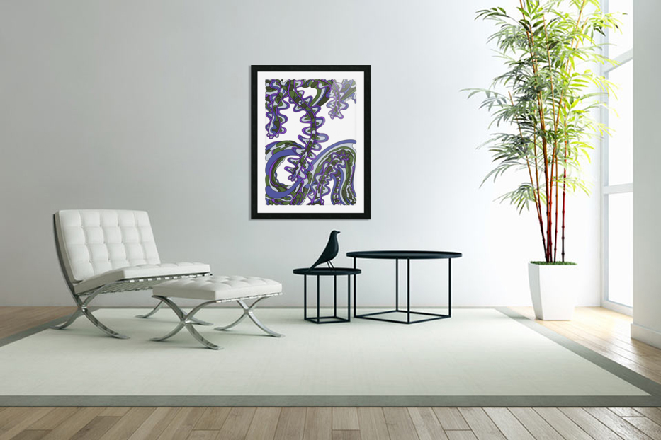 Wandering Abstract Line Art 07: Purple in Custom Picture Frame