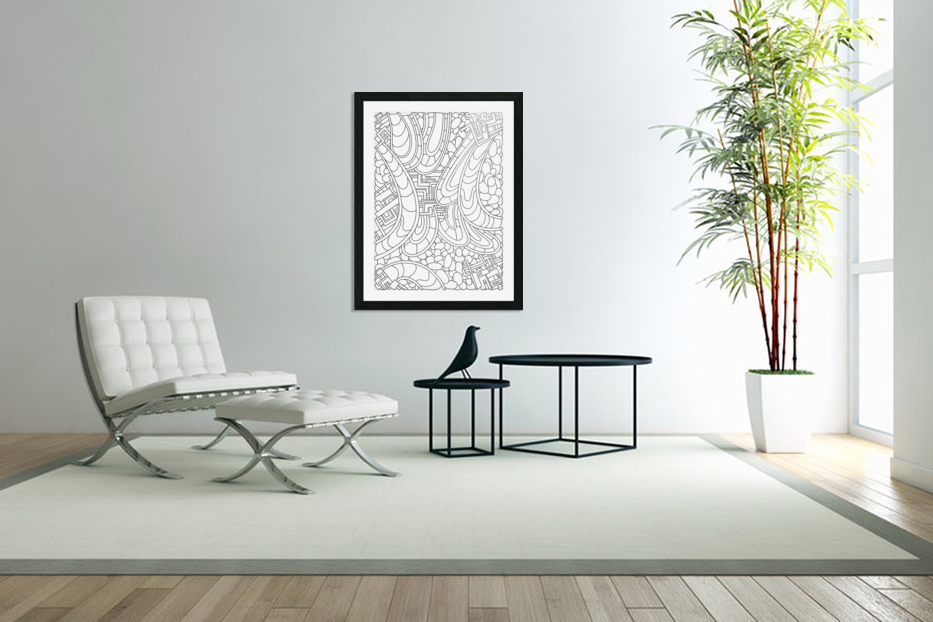 Wandering Abstract Line Art 09: Black & White in Custom Picture Frame