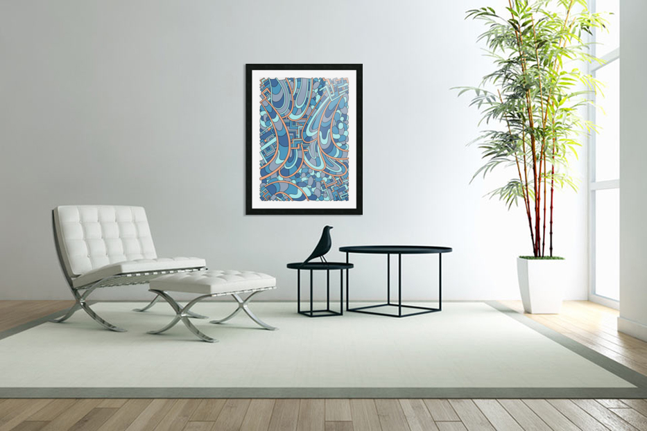 Wandering Abstract Line Art 09: Blue in Custom Picture Frame