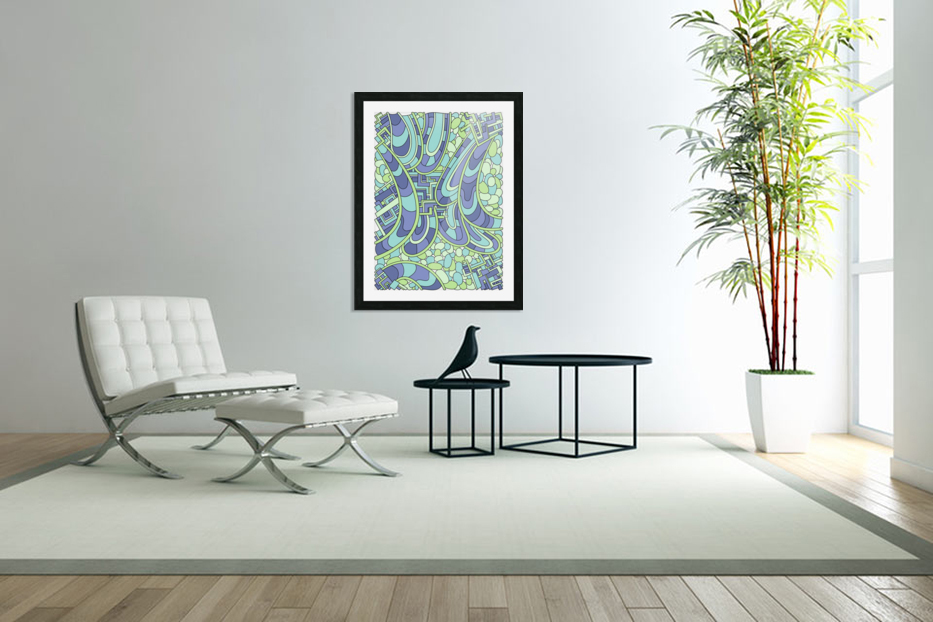 Wandering Abstract Line Art 09: Green in Custom Picture Frame