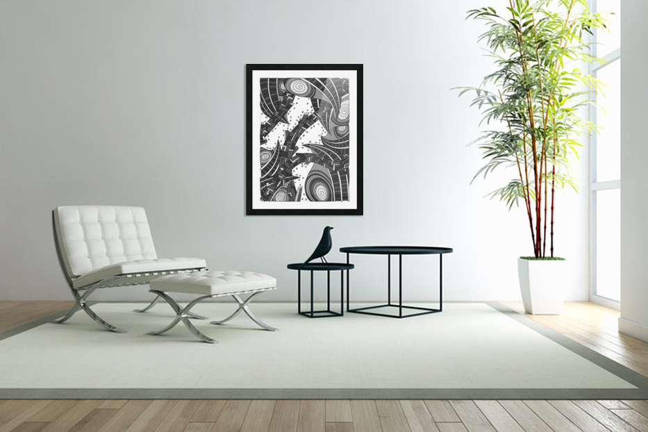 Wandering Abstract Line Art 10: Grayscale in Custom Picture Frame