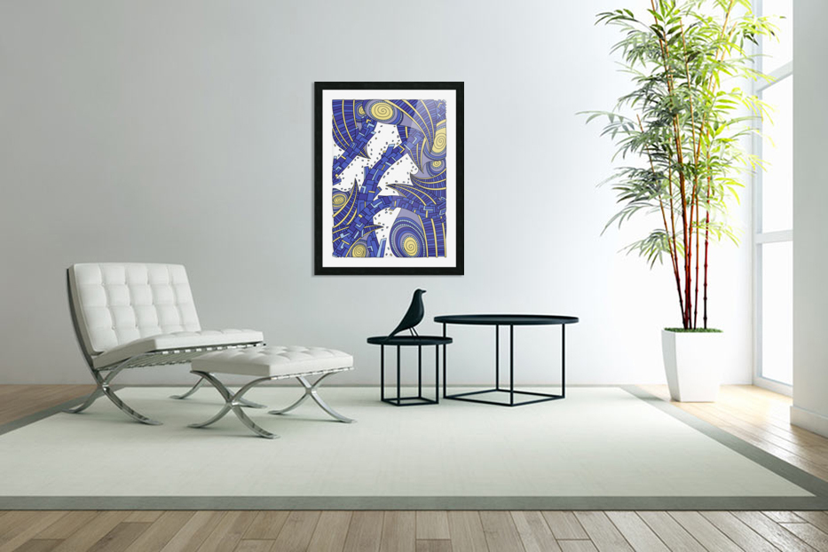 Wandering Abstract Line Art 10: Sapphire in Custom Picture Frame