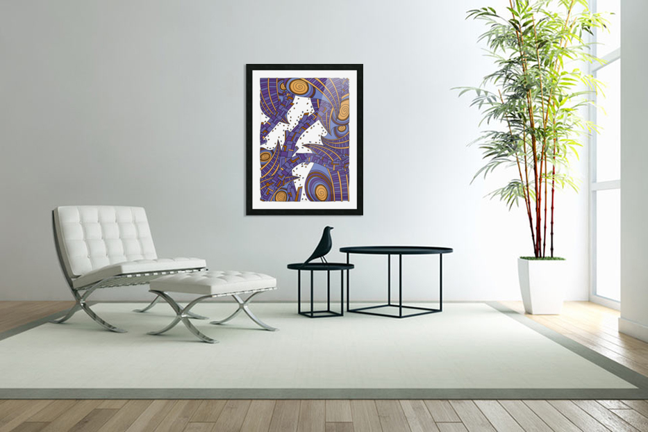 Wandering Abstract Line Art 10: Purple in Custom Picture Frame