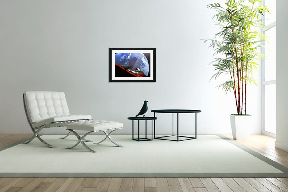 StarMan in Tesla Above Planet Earth in Custom Picture Frame