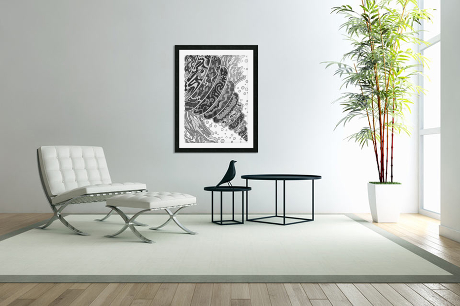 Wandering Abstract Line Art 11: Grayscale in Custom Picture Frame