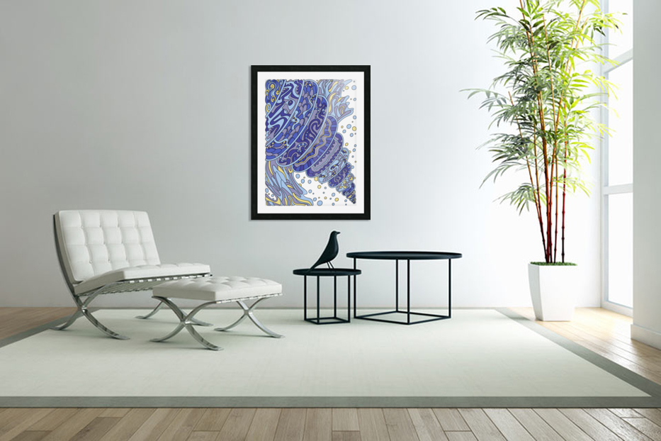 Wandering Abstract Line Art 11: Blue in Custom Picture Frame