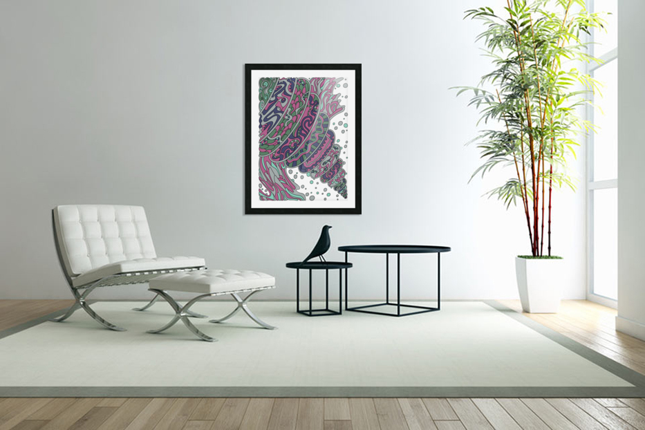 Wandering Abstract Line Art 11: Pink in Custom Picture Frame