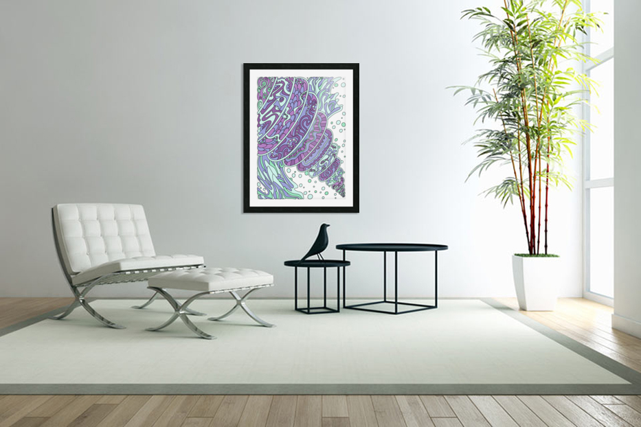 Wandering Abstract Line Art 11: Purple in Custom Picture Frame