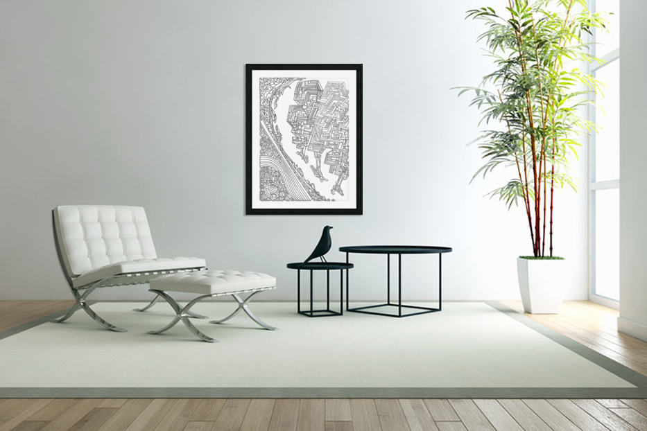 Wandering Abstract Line Art 12: Black & White in Custom Picture Frame