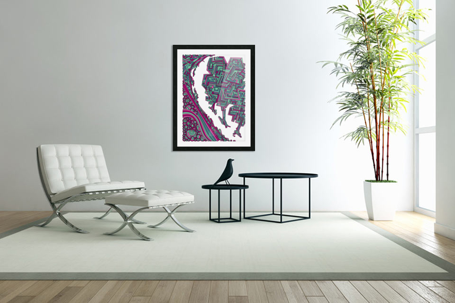 Wandering Abstract Line Art 12: Magenta in Custom Picture Frame