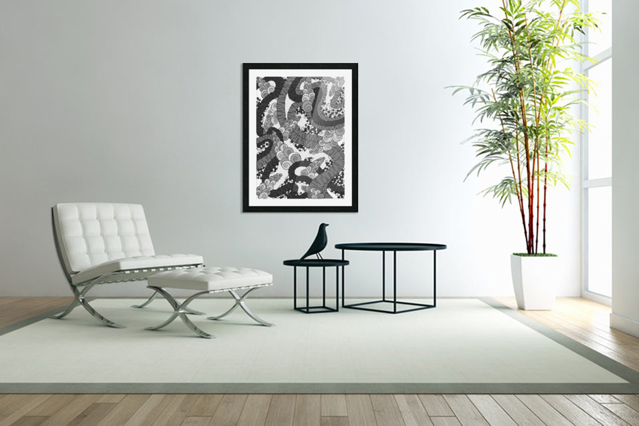 Wandering Abstract Line Art 13: Grayscale in Custom Picture Frame