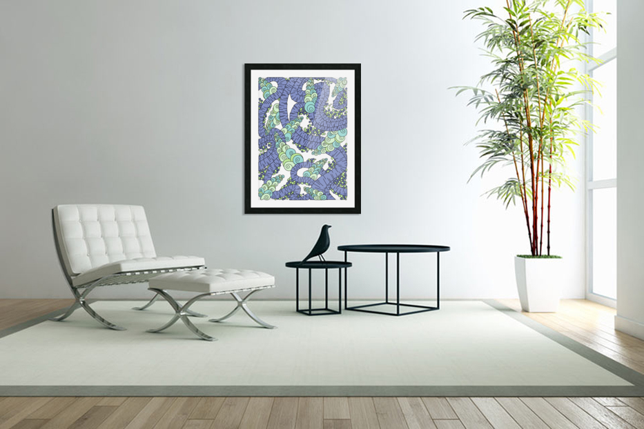 Wandering Abstract Line Art 13: Periwinkle in Custom Picture Frame