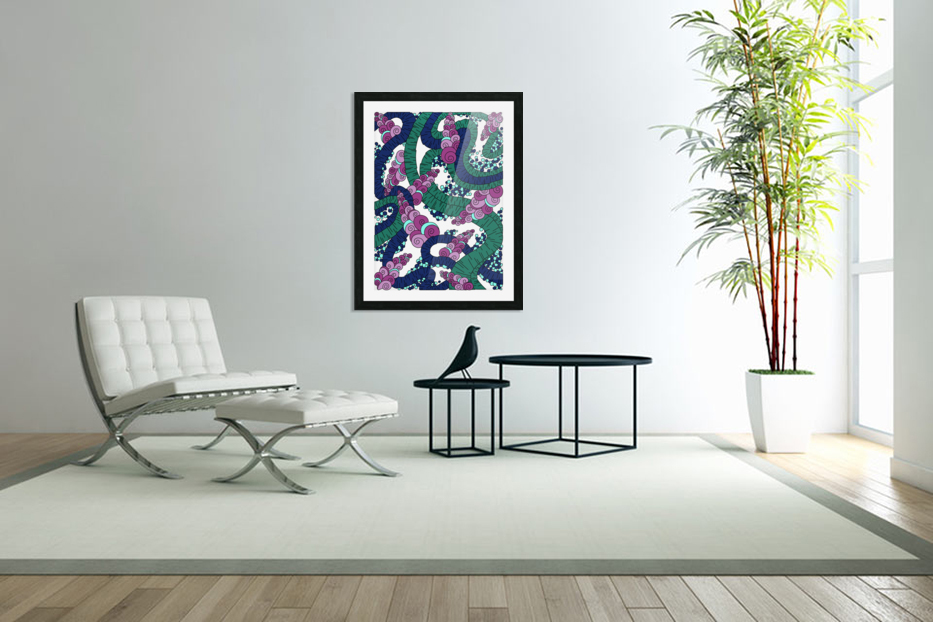 Wandering Abstract Line Art 13: Green in Custom Picture Frame