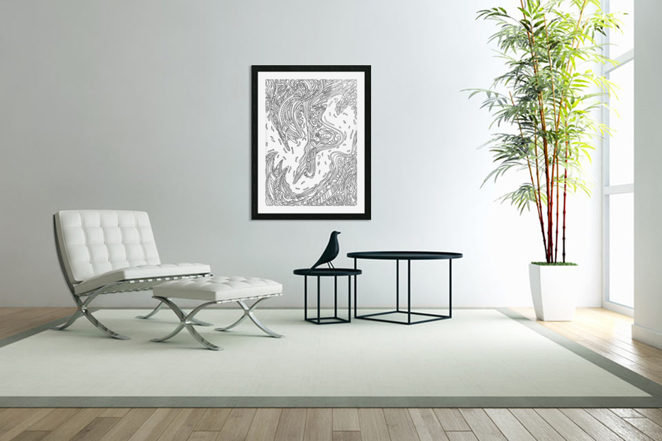 Wandering Abstract Line Art 14: Black & White in Custom Picture Frame