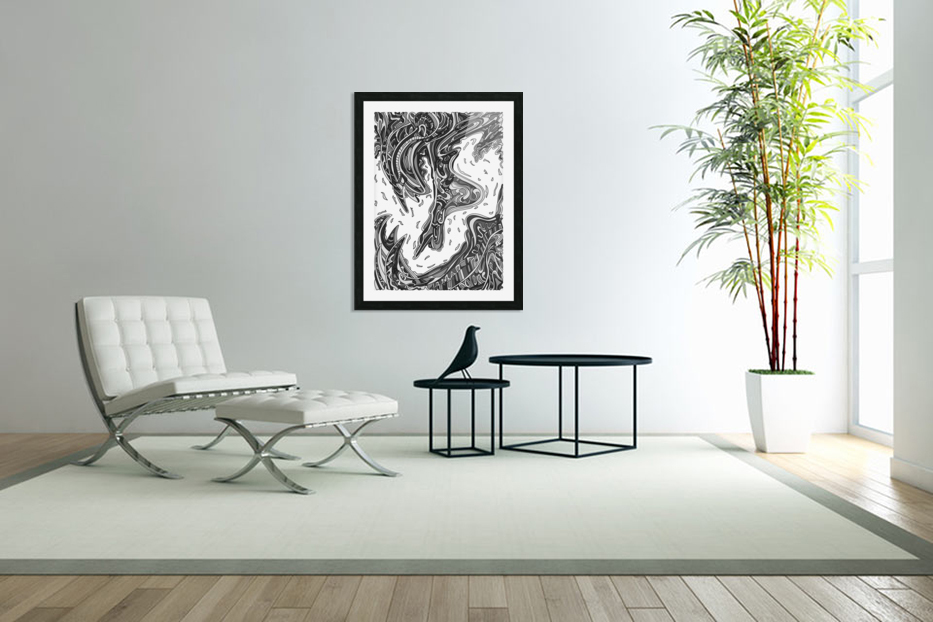 Wandering Abstract Line Art 14: Grayscale in Custom Picture Frame