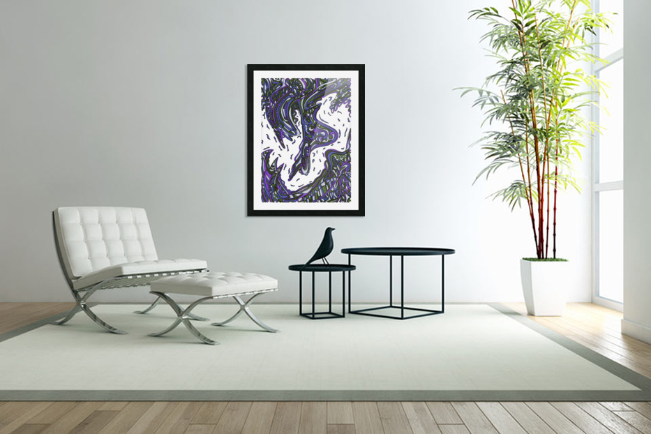 Wandering Abstract Line Art 14: Purple in Custom Picture Frame