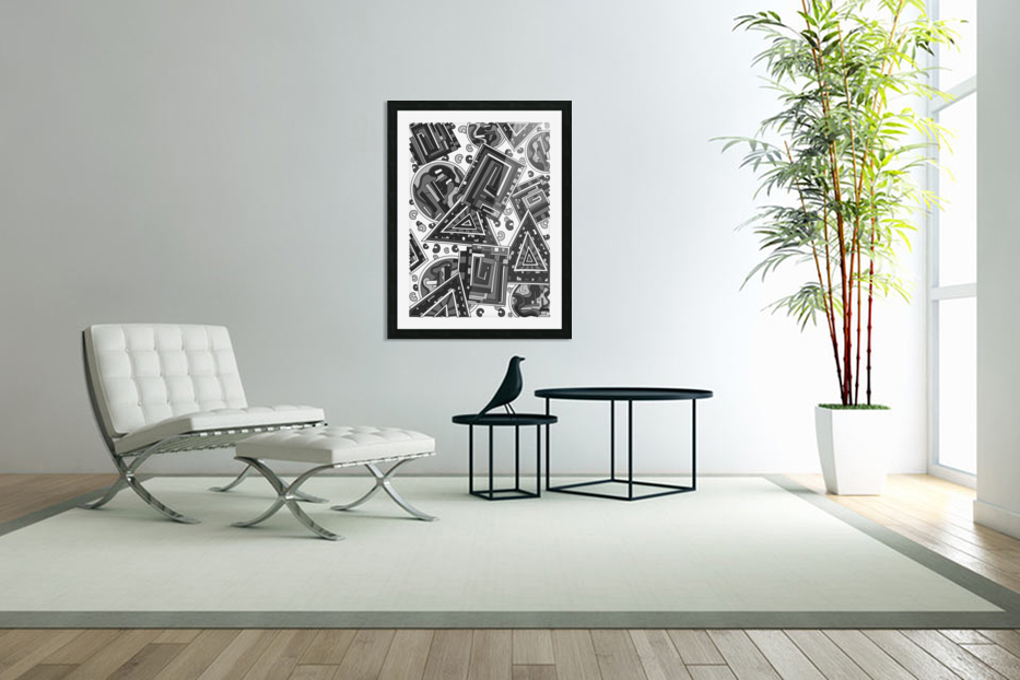 Wandering Abstract Line Art 15: Grayscale in Custom Picture Frame