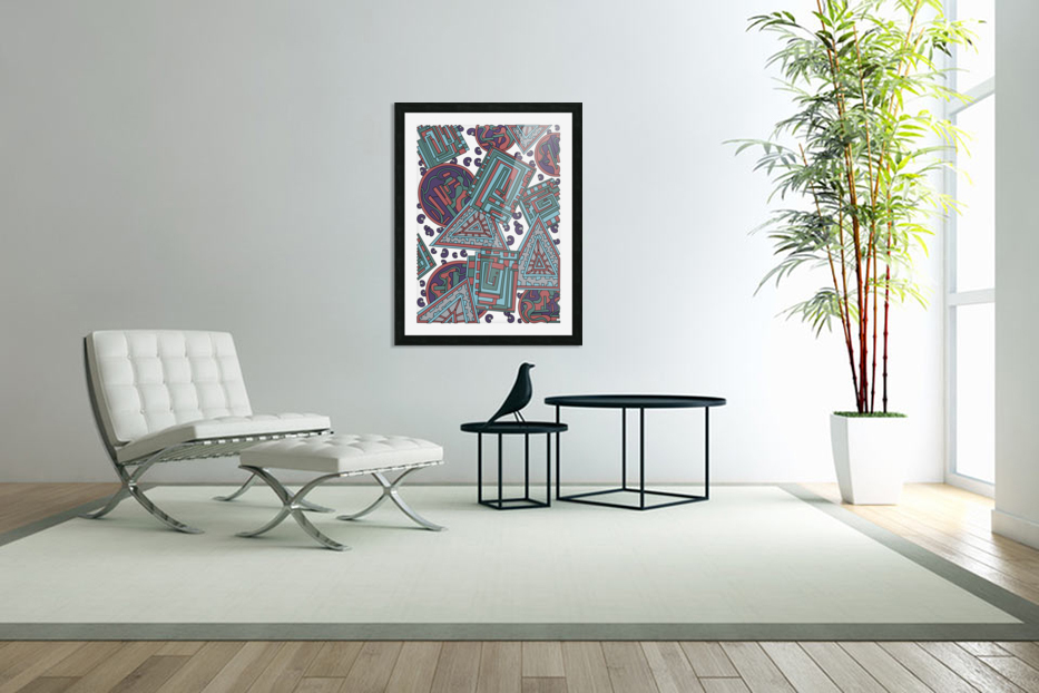 Wandering Abstract Line Art 15: Blue in Custom Picture Frame