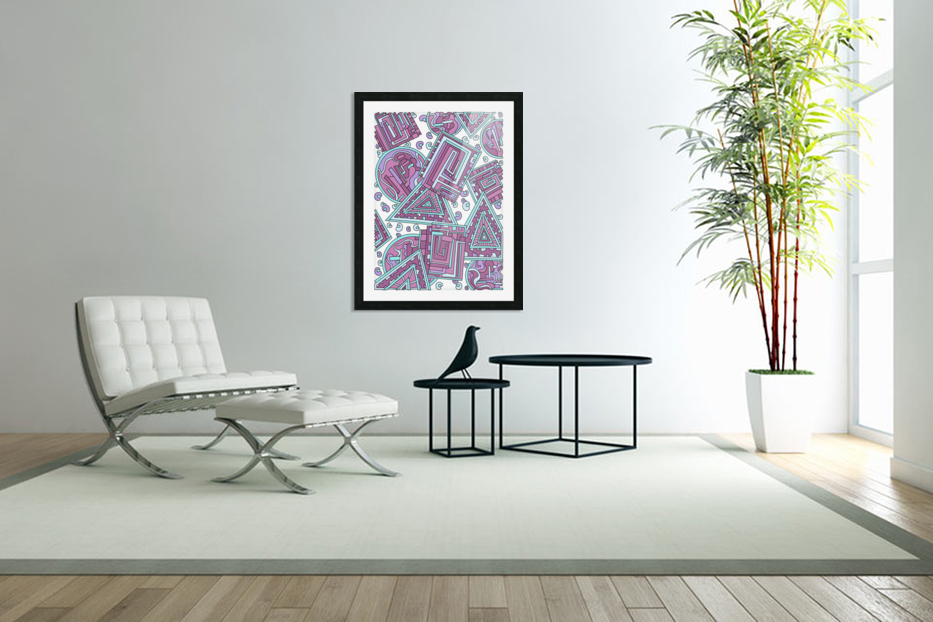 Wandering Abstract Line Art 15: Pink in Custom Picture Frame
