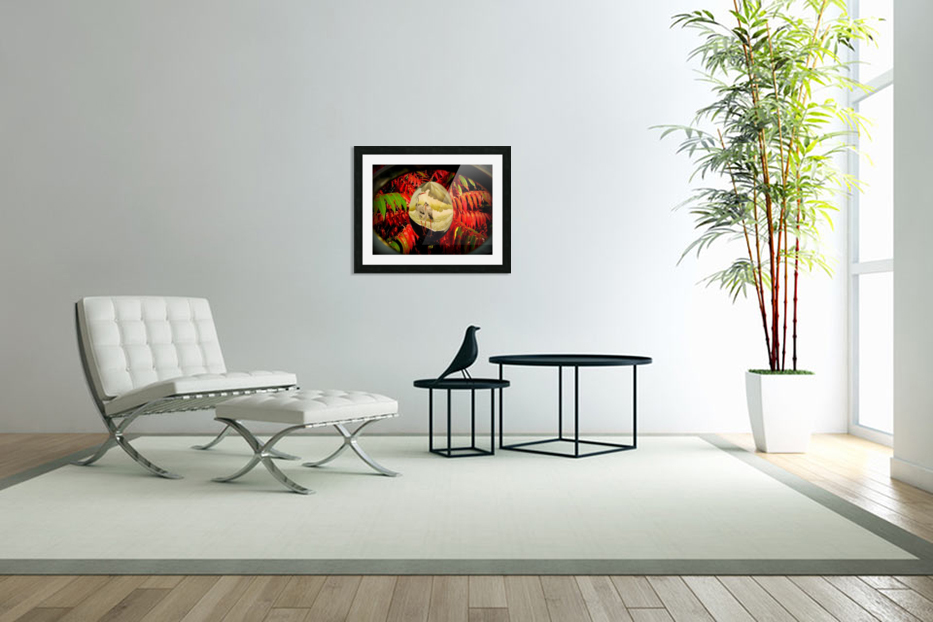 Cranes and red leaves in Custom Picture Frame