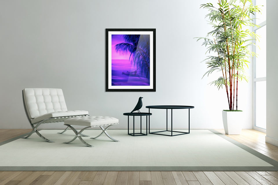 Boat At Sunset in Custom Picture Frame