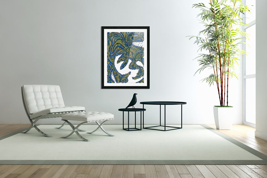 Wandering Abstract Line Art 17: Green in Custom Picture Frame