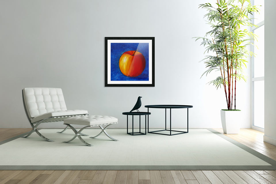 Red Apple - Still Life Painting in Custom Picture Frame