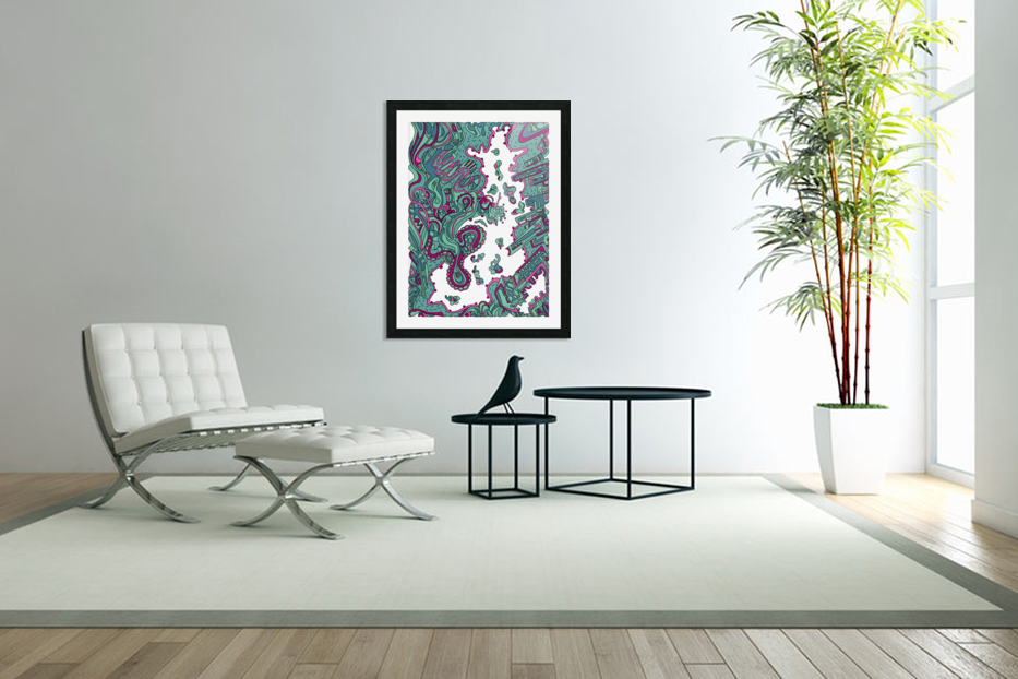 Wandering Abstract Line Art 20: Green in Custom Picture Frame