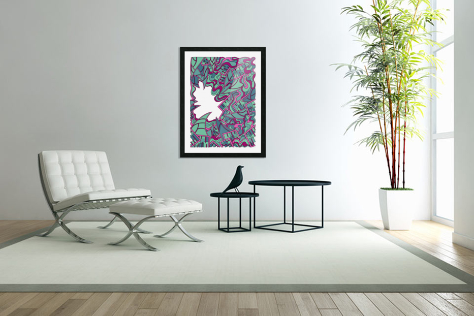 Wandering Abstract Line Art 25: Magenta in Custom Picture Frame