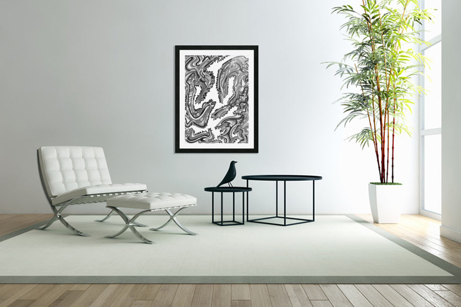 Wandering Abstract Line Art 26: Grayscale in Custom Picture Frame