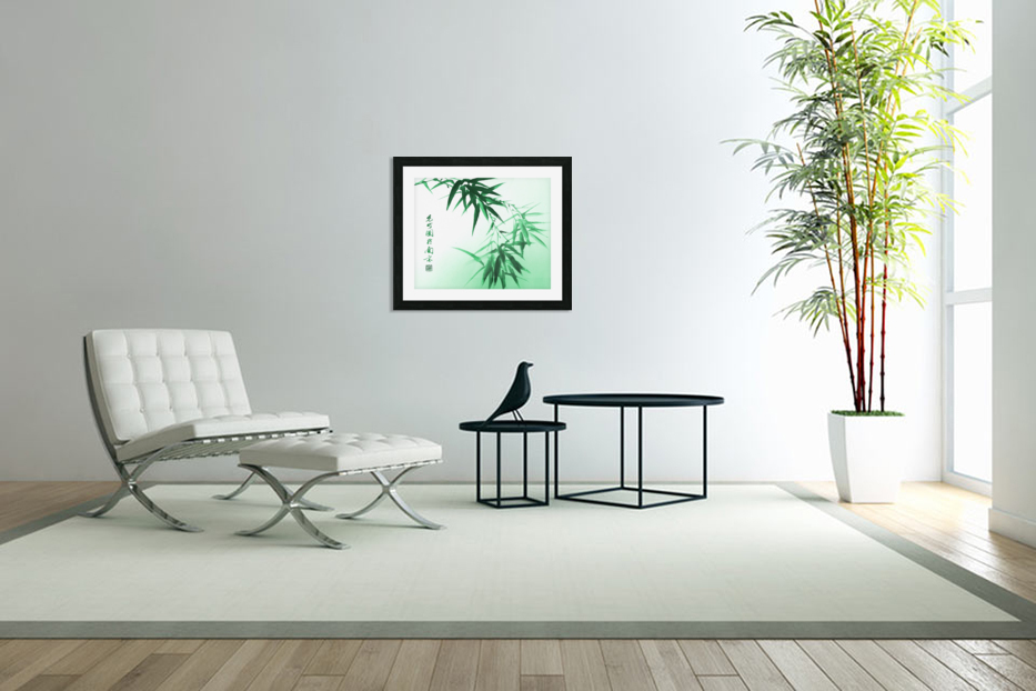 Green Bamboo Twig in Custom Picture Frame