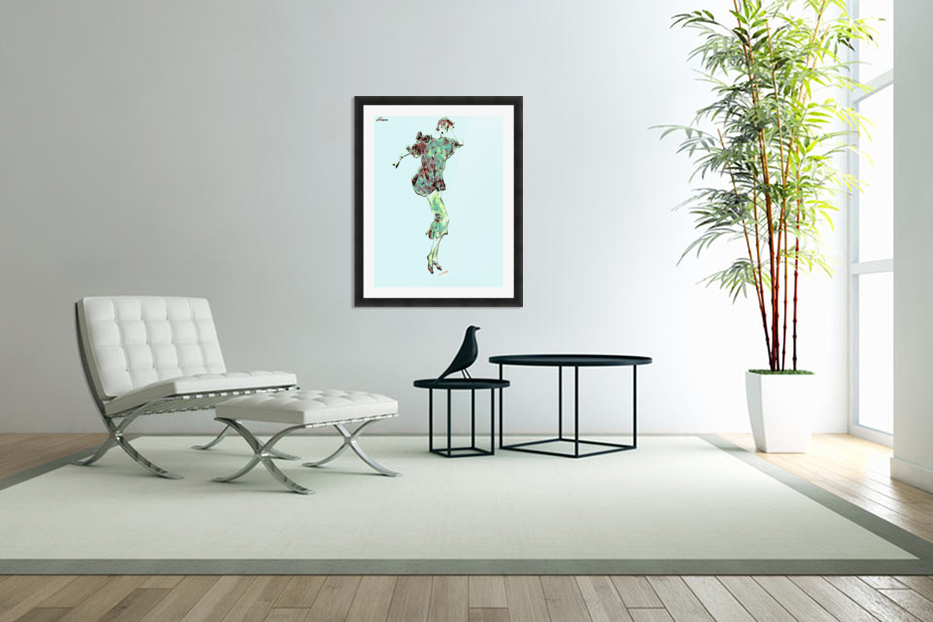 1980's Fashion on Blue in Custom Picture Frame