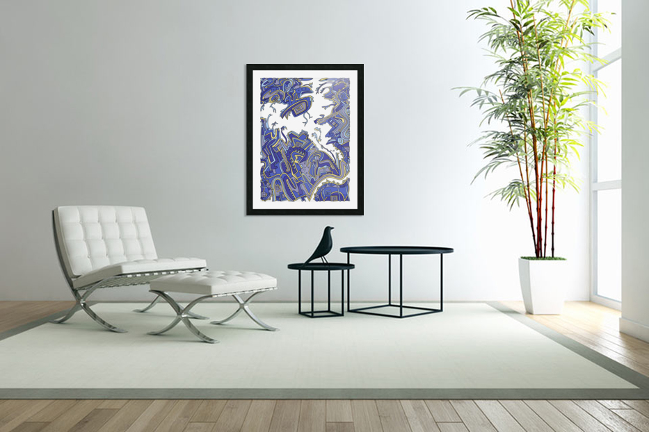 Wandering Abstract Line Art 34: Blue in Custom Picture Frame
